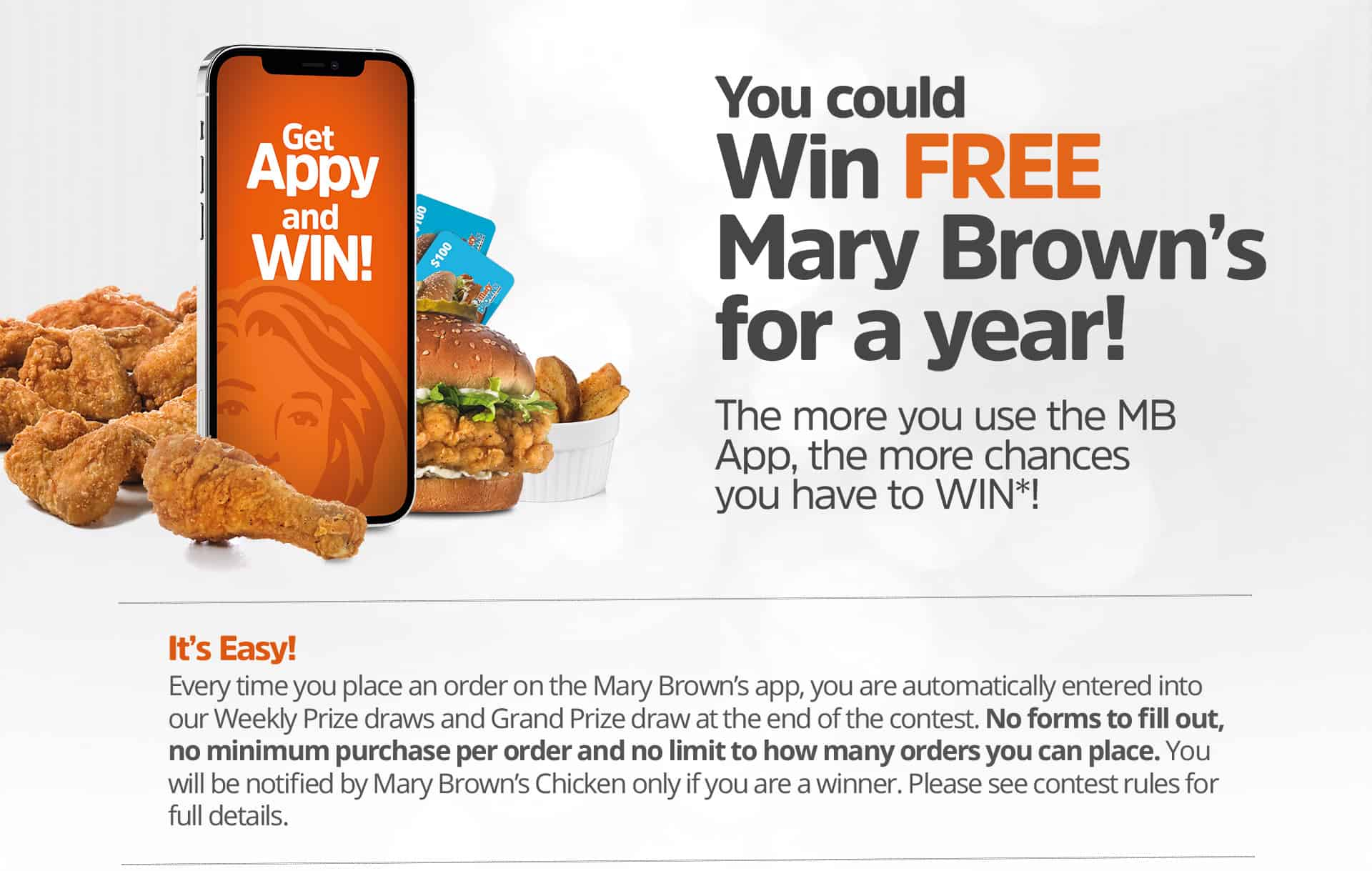 You Could Win Free Mary Brown's for a Year